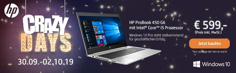 ProBook 450 G6 mit Intel® Core™ i5 Prozessor. || Windows 10 Pro steht stellvertretend für geschäftlichen Erfolg.